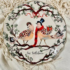 ANTHROPOLOGIE 12 Days Two Turtledoves Plate